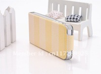 Luxury Korea fresh style series stripe print leather trellis case for iphone 5 Free shipping