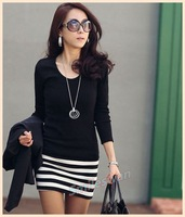 2012 Fashion Women's long sleeve T shirts lady's  pretty O-Neck Tops Blouse Stripe Dress Free Shipping
