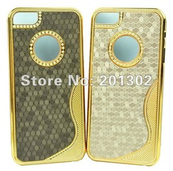 Luxury S Line Chrome Electroplate Hard Back Bling Case Football Style For iPhone 5 5G 5th, Free Shipping Mix Color 100pcs(Hong Kong)