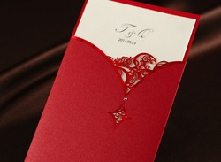 Very Pure & Simple Red Wedding Invitations Cards With Customize Printing with Rhinestone (Set of 50) Wholesale Free Shipping(China (Mainland))