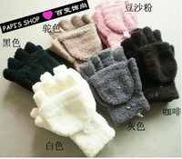 Christmas free shipping soft toweling lady's half covered gloves mittens