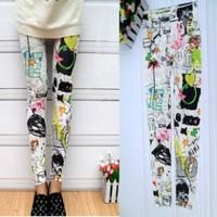 Hot-selling painted doodle multicolour splash-ink legging 100% cotton large elastic 9 pants skinny pants lead female