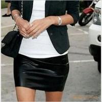Fashion sexy elastic matt faux leather short skirt basic skirt black