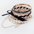Woven Bowknot Pearl Multilayer Bracelet Bangles Black Color Top Selling Wholesale Jewelry 89898  Free Shipping