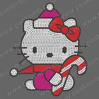 Free Shipping 30pcs/Lot Wholesale Pretty Hello Kitty Christmas Design Iron On Rhinestone Transfer for Christmas Party