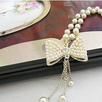 2013 New Arrival Hot Selling Cute Pearl Beads Butterfly Bow Pendent Necklace N233