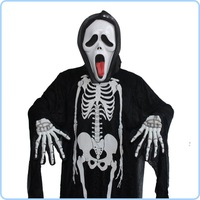 Halloween carnival fancy dress ball ghost costume for kids and adult / skull skeleton monster clothing with face mask