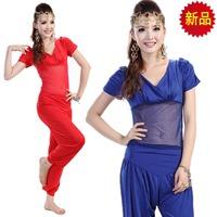 Belly dance clothes set leotard yoga clothing set gauze short-sleeve bloomers