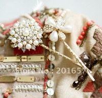 Wholesale and Retail fashion flower with pearl clips assorted hair accessories assorted design  12pcs/lot