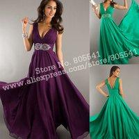 Sexy Deep V-neck A-line Ruched Beading Long Grape Chiffon Evening Dresses EVD092732