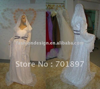 REAL411 2013 New arrival long sleeves lace with hijabs arabic muslim wedding dresses