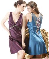 Free shipping Sexy nightgown female silk sleepwear lounge summer women's silk sleepwear lounge