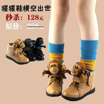 2012 winter children shoes gorilla child casual shoes cotton leather female child boots