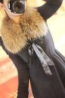 Raccoon fur collar muffler scarf