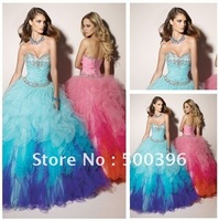 Hot Sale Beaded Sweetheart Ball Gown Organza Sky Blue Pink Quinceanera Dresses Sweet 16 Prom Gown Free Shipping