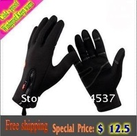 Upgraded version  2012 NEW Male and Female models Outdoor  Windproof Cold - proof gloves, Riding / Fleece gloves Free shipping