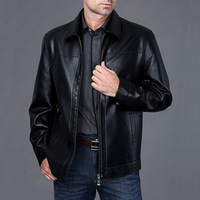 Quinquagenarian male PU leather clothing sheepskin turn-down collar plus size mens leather jacket outerwear