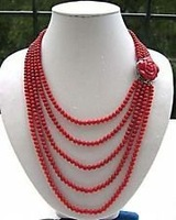 Free shipping !!!  Wonderful 5 Rows Red Coral Necklace & Flower Clasp