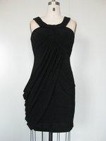 Sheath Halter Black Chiffon Bridesmaid Dress Glamorous Knee Length Evening Gown Short Prom Dress Sz 2 4 6 8 10 12 14 16+Custom