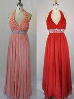 Halter Blue RedPink Yellow Chiffon Evenning Dress Hi-low Evening Gown Jeweled SASH Party Gown Prom Dress Sz 2 4 6 8 10 12+Custom