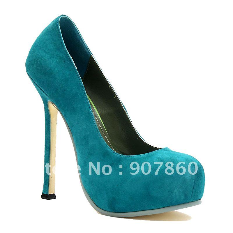 Suede sheepskin classic formal dress ultra high heels single shoes blue green(China (Mainland))