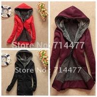 wholesale 2012 autumn and winter medium-long loose fleece women's cardigan hooded sweatshirt Women thickening outerwear