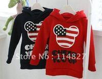 HOT SELL !!4pcs girls boys mickey sweatshirts hoody childrens long sleeve navyblue USA flag hoodies top clothes tops clothes