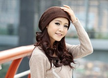 Free Shipping ! Korean Women Hat 5pcs/lot Lady Cap Winter Hats For Woman  Fashion Lady's Headwear 4 Colors Quality Goods(China (Mainland))
