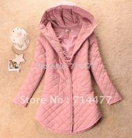 Winter 2012 autumn women's autumn and winter hooded plaid medium-long wadded jacket cotton-padded jacket outerwear