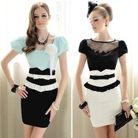 Free shipping 2014 Brand New Summer black & white Patchwork Luxury Bow Ruffle Bodice High Waist Women's Skirt S/M/L