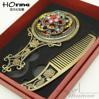 Elegant portable vintage handle small copper mirror comb set makeup mirror beautiful princess gifts