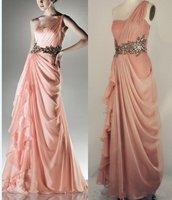One Shoulder Pink Chiffon Evenning Dress Gold Black SASH Bridesmaid Dress Ready Made Sample Bridal Prom Dress Sz 2 4 6 8 10 12 +