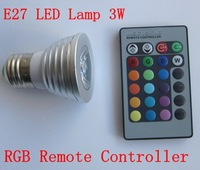 Free shipping E27  16 Color Changing 3W RGB LED Light Bulb Lamp AC85V~265V + IR Remote Control
