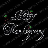 Free Shipping Fast Turnaround Wholesale Rhinestone Transfer Large Size Happy Thanksgiving  Iron On Motif Free Custom Design