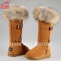 2012 fox fur cowhide high-leg boots genuine leather snow boots women's shoes flat