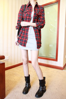 Autumn fashion turn-down collar plaid shirt female long-sleeve slim plaid outerwear