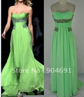 Strapless Green Silk Chiffon Evenning Dress Glamorous Prom Gown Bridesmaid Dress Ready Made Sample Dress Sz 2 4 6 8 10 12 14+