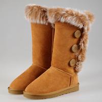 Cowhide rabbit fur hasp high-leg boots genuine leather snow boots