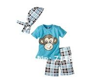 136 wholesale free shipping children boys' summer clothing monkey pattern lovely clothes set  5sets/lot