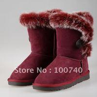Cowhide rabbit fur hasp medium-leg boots genuine leather snow boots
