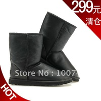 Men waterproof medium-leg boots genuine leather snow boots women's shoes flat fur one piece 5842