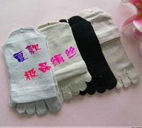 Silk five fingers socks thin male socks points toe socks five-toe socks a32