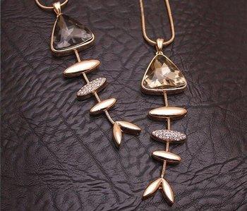 Fashion Crystal Shiny Rhinestone Fish Bone Pendant Necklace N379