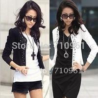 Free shipping 2014 spring women's ol plus size slim rhinestones blazer suit women's short jacket female