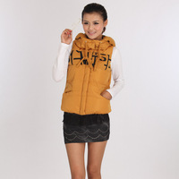 2012 multicolour casual all-match personality with a hood cotton-padded jacket female vest