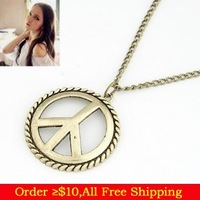 Min Order $10(Mix Items)Fashion Vintage Punk Gothic Charming Peace Sign Anti-war Pendant Necklace/Retro Bronze Sweater Neacklace
