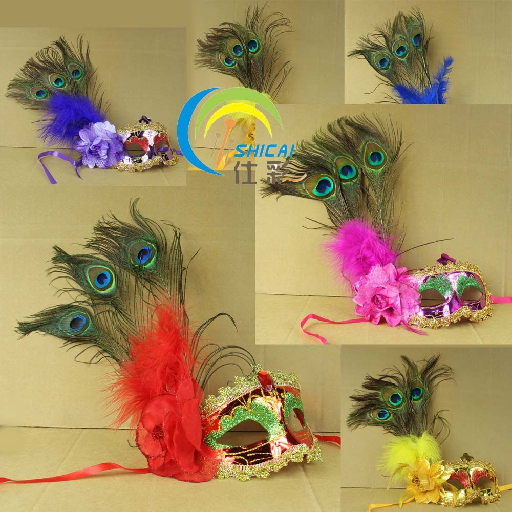Wholesale 10Pcs/lot Cheap Mask dance party halloween small peacock feather flower mask Holiday decoration gadgets(China (Mainland))