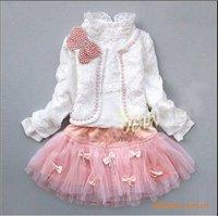 retail girls lace suit kids t-shirt + skirt + coat 3pcs clothes set children spring autumn wear fashion sweet garment
