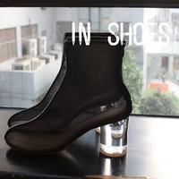9.25maison martin margiela transparent crystal with gauze female genuine leather mali cool boots