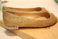 Flat heel gold paillette rhinestone open toe shoe flat sandals